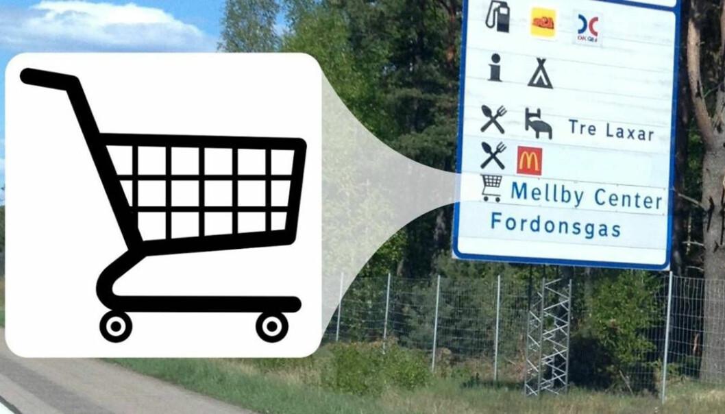 Bildet med kjøpesentersymbol ved veien i Sverige, som handelsforeningen brukte i forslaget de fremmet i 2014, og som vant igjennom etter seks år.