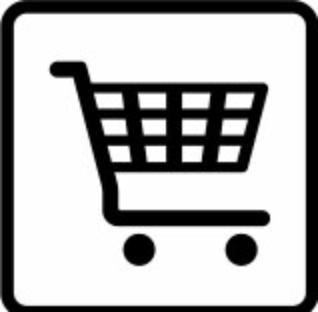 Vegvesenets veivisningssymbol for kjøpesenter som siden januar i år er offisielt, kan brukes sammen med navn på kjøpesenteret.
