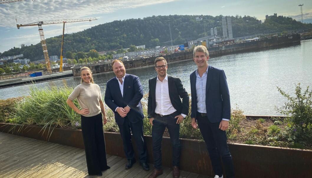 Maria Louise Rognerud i OSU, Remi N. Olsen i Akershus Eiendom, prosjektdirektør Rolf Erik Bugge i NorgesGruppen og Jørgen Normann- Larsen i Meny.