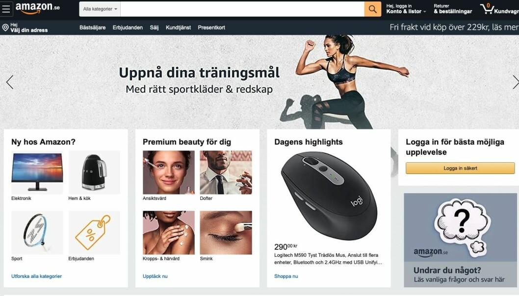 Skjermdump fra Amazon.se