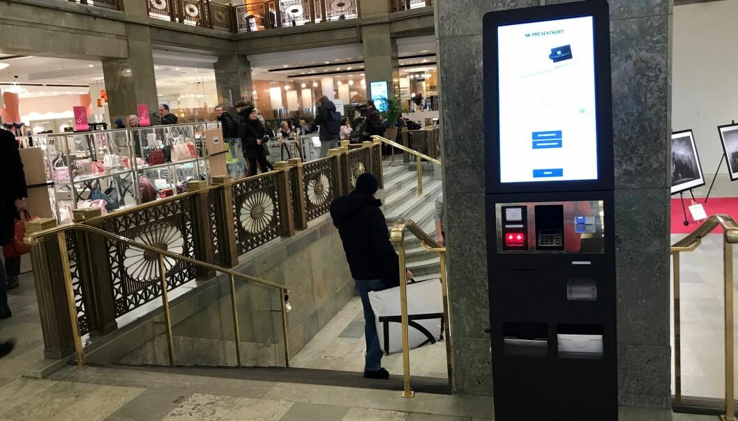 Microlog er markedsleder på leveranse og drift av gavekortautomater i Norden. her fra NK i Stockholm.