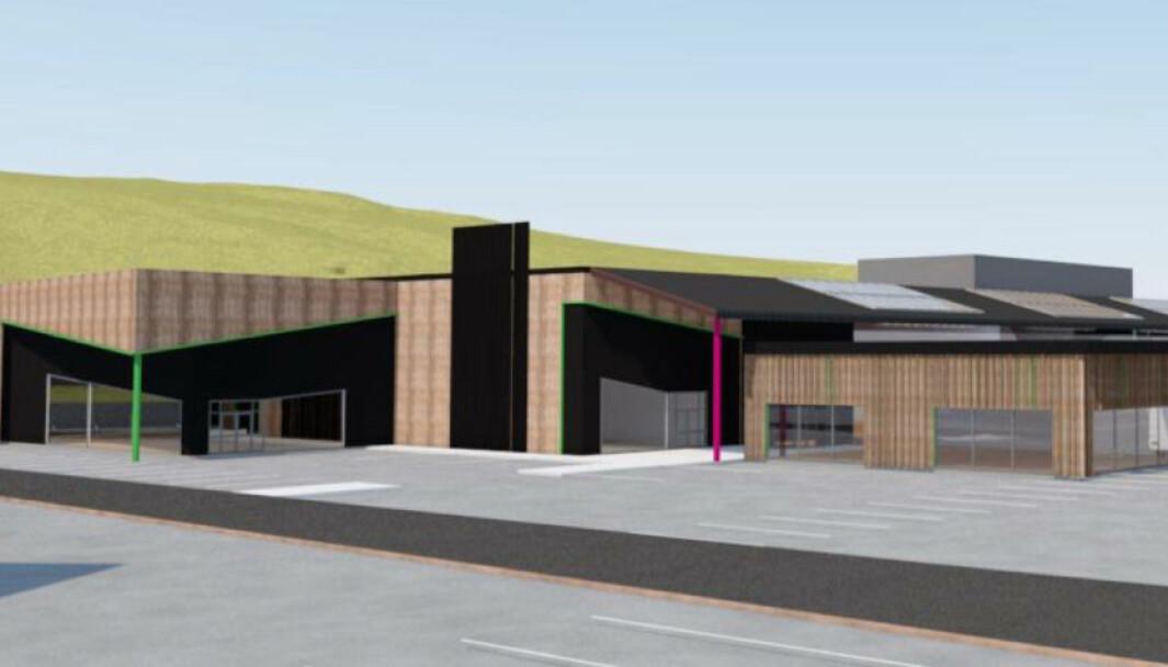 Tegning av ALTI Fosen som skal bygges i Seterfjæra i Bjugn.
