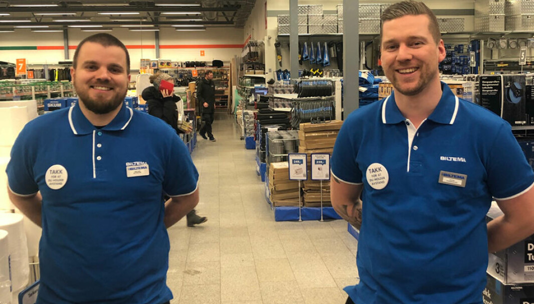 Butikksjef/NK Tor Ivar Opdal (t.v.) og varehussjef Steve Andersen er begeistret for deres nye konseptvarehus på Spillum i Namsos.