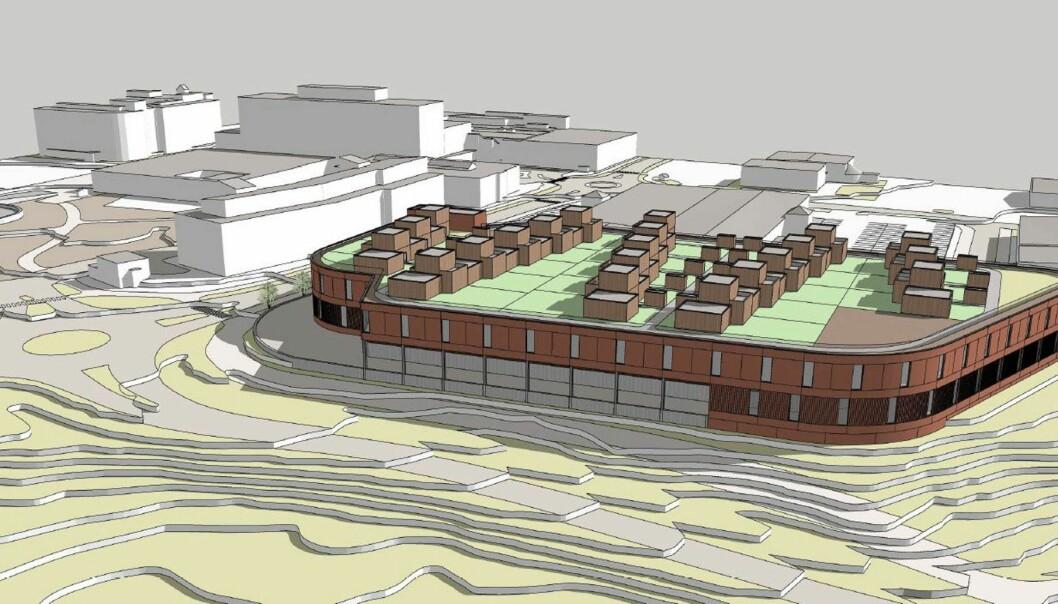 Foreløpig utkast til det nye senteret med to etasjer i Alta, med 20 atriumboliger på taket.