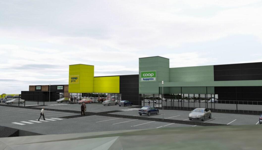 Tegning av det nye senteret for storhandel på Hammarvika som skal åpne i januar 2022.