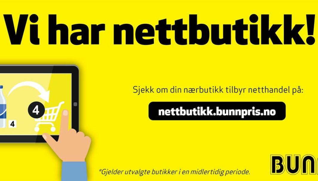 Skjermdump fra Bunnpris' hjemmeside
