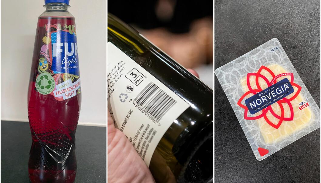 Orkla med FunLight i 100% resirkulert plast, Arcus med pantbare vinflasker og TINE med mindre emballasjen for skivet ost.