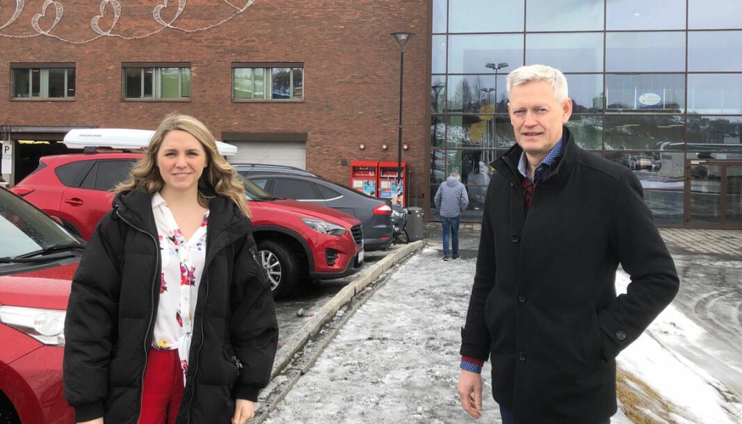 Senterleder Silje Bergh-Lorentzen og regionsdirektør Ole-Kristian Aspenes i Bunnpris er glade for etableringen av Bunnpris Gourmet på Amfi Narvik.