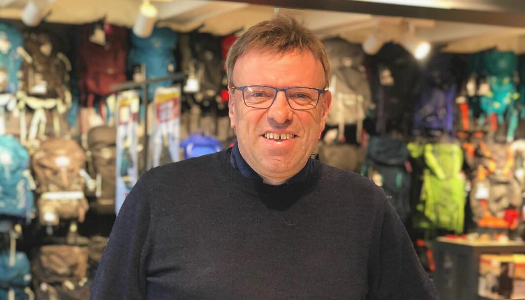 Geir Husum på plass i butikken på Lillehammer, hvor det hele startet i 1985.