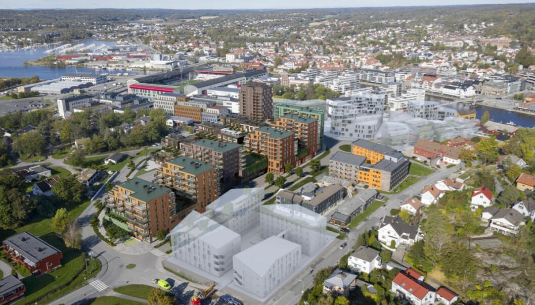 Overiktsbildet viser Værstetorvets beliggenhet midt i den delen av Værsteområdet som er nærmest sentrum i Fredrikstad. Handelen er delvis nedgravd som muliggjør boligprosjektet på taket.