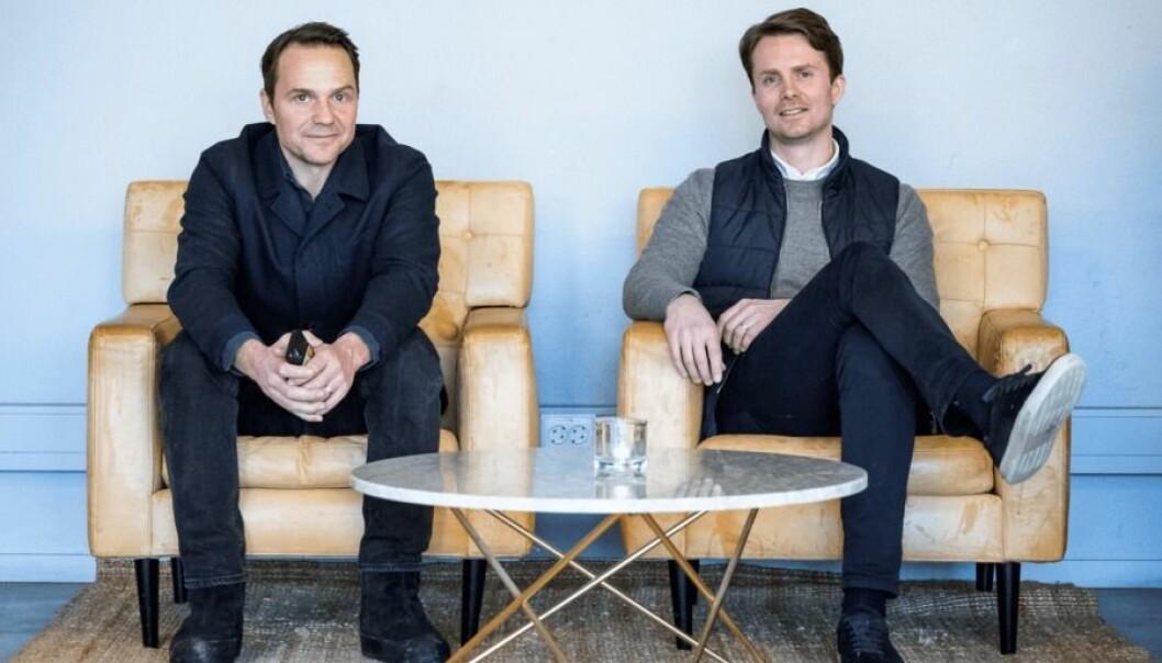 Pål Hodann og Nils Bergman er gründere i Stockholm Nordtech Group som kjøper Shoppa.