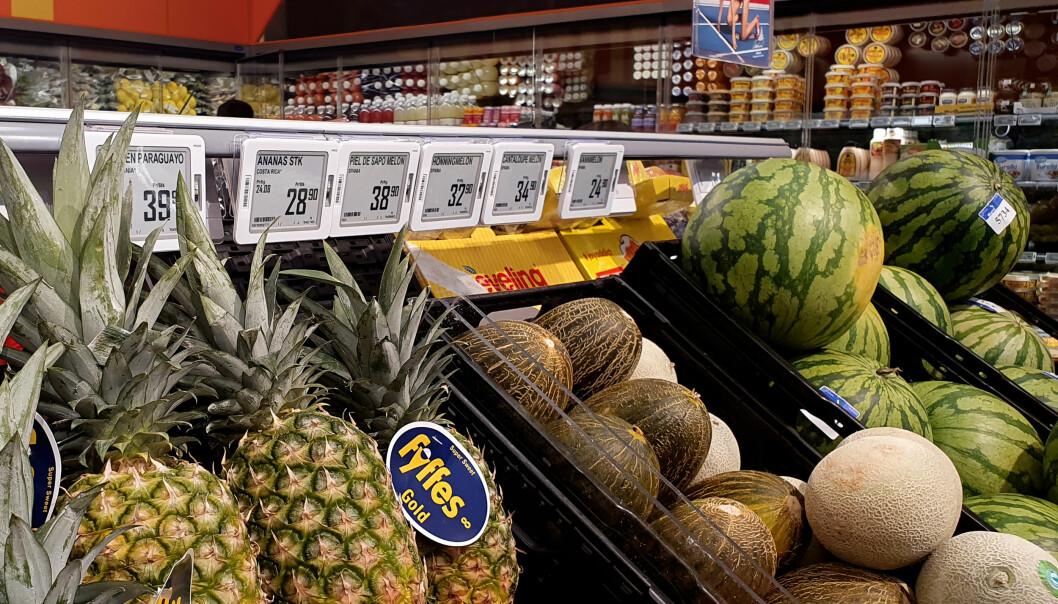 Coop fortsetter med elektroniske prisetiketter fra Pricer. Ill.foto fra Coop Extras butikk i Pindsle i Sandefjord.