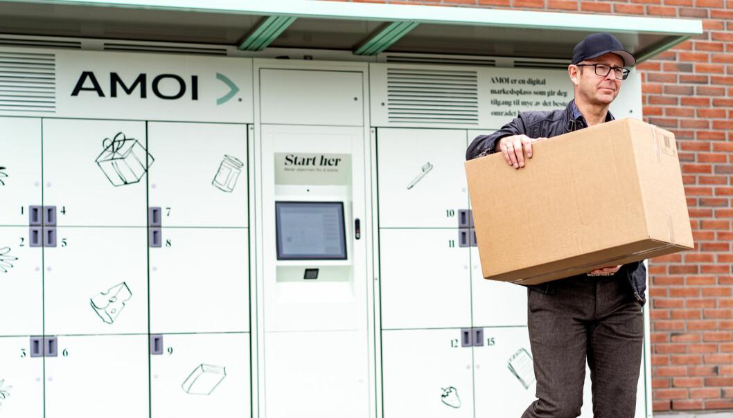 Hyttefolk i Lillehammer-regionen kan hente varene de har bestilt gjennom AMOI i henteskap som er produsert av StrongPoint.