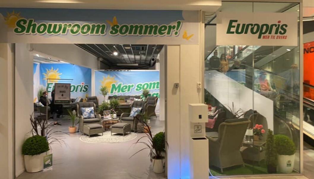 Europris' butikk på Sartor fått et showroom på 70 kvadratmeter ved inngangen fra parkeringshuset i underetasjen.