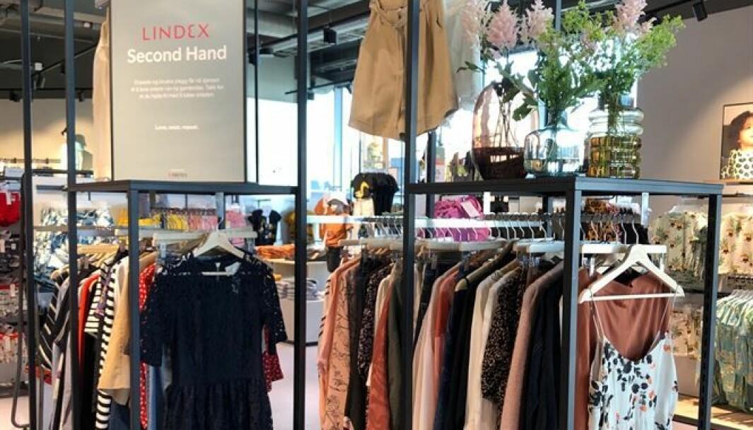 Lindex vil selge utvalgte brukte plagg til dame i kjedens butikk på Byporten i Oslo.