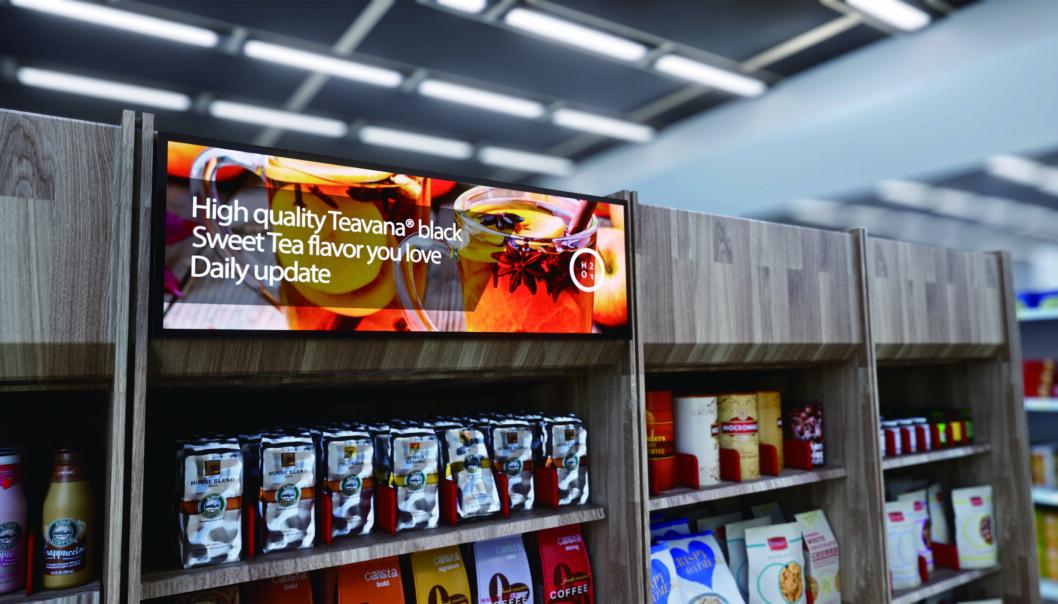 Skjermer egner seg godt i butikker, også i butikkhyller.
