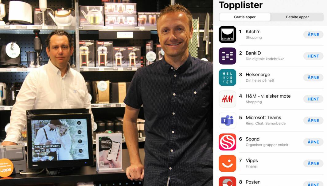 IT & logistikksjef Petter Grålumstuen og markedssjef Oddbjørn Sivertsen i Kitch'n er fornøyd med å ha landets mest populære app.