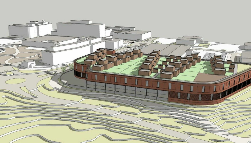Skisse av det nye senteret i to etasjer i Alta, med 20 atriumboliger på taket.