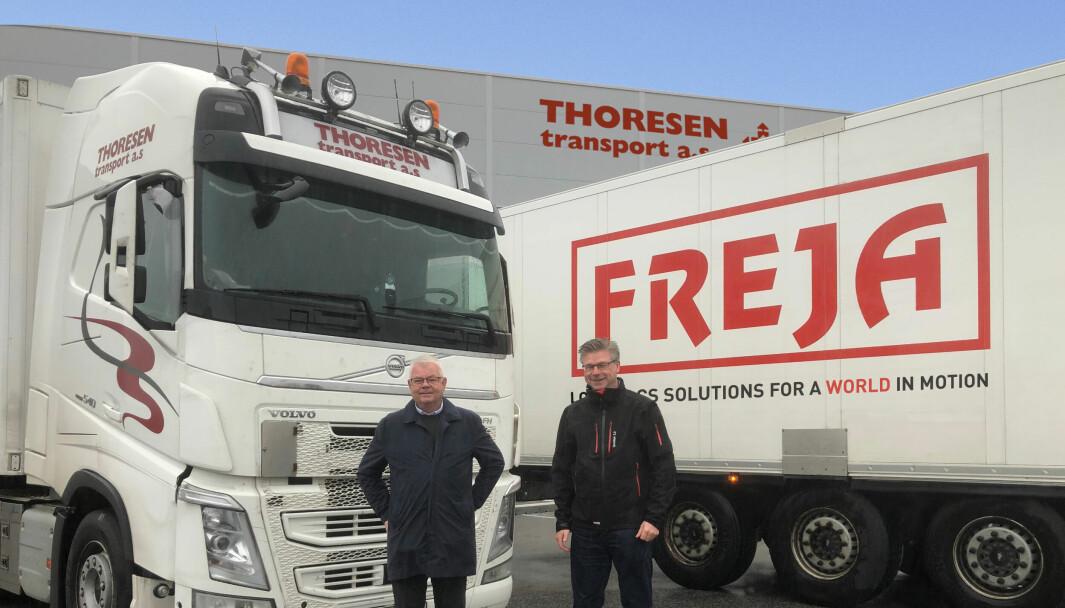 På fredag kjøpte FREJA 80% av Thoresen Transport AS i Larvik. Lars Thoresen (Thoresen Transport) t.v. og Kjell-Arne Eloranta (FREJA) t.h.